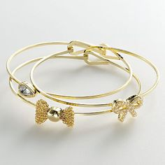 LC Lauren Conrad Gold Tone Simulated Crystal Bow & Teardrop Bangle Bracelet Set