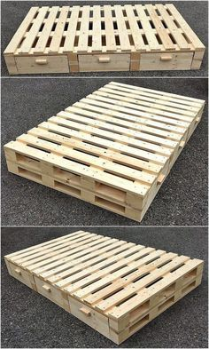 22 amazing recycled pallet bed frame ideas to make it yourself 14 Pallet Bed Frames, Diy Pallet Bed, Wooden Pallet Projects, Wooden Pallet Furniture, Diy Bed Frame, Diy Furniture Projects, Wooden Pallets, Pallet Ideas, Bedroom Furniture
