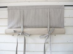 CUSTOM Order for DEB Black Ticking 36 Inch Long Roll Up Window Shade Reversible Tie Up Rolled Curtain