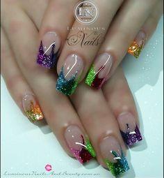 These look like Mardi Gras nails. Fabulous Nails, Gorgeous Nails, Pretty Nails, Acrylic Nail Designs, Nail Art Designs, Acrylic Nails, Nails Design, Hot Nails, Hair And Nails