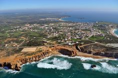 An aerial view of Sagres village, with Martinhal in the background.