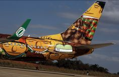 Os Gêmeos Graffiti the Brazilian National Team's Airplane Boeing 737 for the World Cup