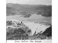 Santa Paula, CA - Aerial view of the leaking St. Francis Dam before the break.