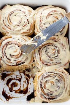 Coffee Cinnamon Rolls - Cinnamon rolls with a hint of coffee smothered in coffee cream cheese frosting.