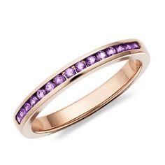 Amethyst Channel Set Ring in 14k Rose Gold