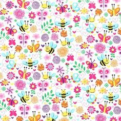 Busy Bee Michael Miller fabric Pretty Retro 100% cotton Pink vintage.....(2015/09/17)