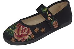HONGRUIJIA Womens Embroidered Casual Flats Mary Jane Lace Black 80 M US >>> Find out more about the great product at the affiliate link Amazon.com on image.