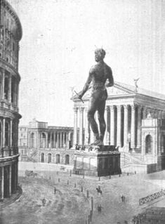 A drawing of the Colossus of Nero standing next to the Colosseum. http://www.latinata.com/colosseum/colosseum.colossus.html