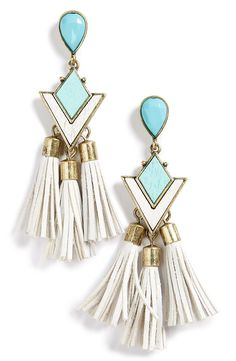 Finish off the look with this pair of mint-green drop earrings covered in sparkling crystals.