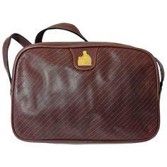 2cd58ae3febad1 For Sale on 1stdibs - Vintage LANVIN wine brown logo printed leather  shoulder bag with iconic