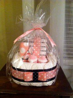 Pink Polka Dot Diaper Basket Set Monogrammed by CeeJaze on Etsy, $34.99