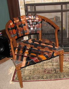 Repurposed Swanky Leather Belt Chair by aSkyGreen on Etsy.