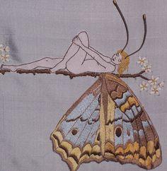 Patrón de bordado a mano de la mariposa de la muchacha de la mano bordada Wall…