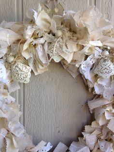 Angel Wreath Christmas Rag Wreath Cream and Gold by R2Rfashions