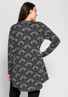sheego Style Strickjacke mit Jacquardmuster - grau meliert | sheego XXL-Mode