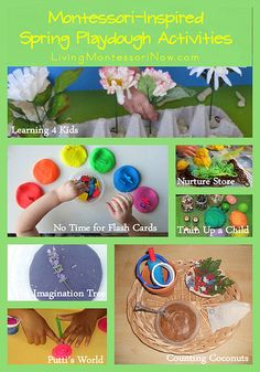 Montessori Monday - Montessori-Inspired Spring Playdough Activities (roundup post with ideas for a number of springtime themes)