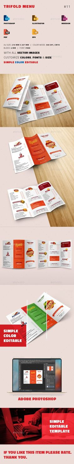 TriFold Restaurant Menu Template Pinterest Restaurant Menu - Folded menu template