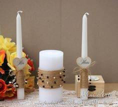 Rustic Unity candles Rustic Wedding Candles Unity by AniArts