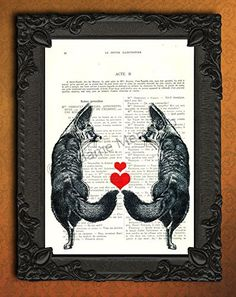 Fox couple in love, I love you gift for him or her, foxes artwork, valentines day decorations, red heart art print