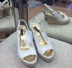 Louis Vuitton Espadrille Wedges White Size 37.5 #LouisVuitton #PlatformsWedges