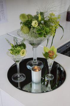 Flower Design Events: Green Vintage Floral Martinis at The Leverhulme Hotel, Port Sunlight