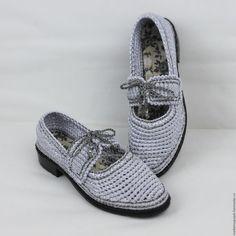 Купить Туфли вязаные Иней серебристый - обувь вязаная, обувь на заказ, обувь летняя