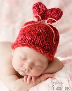 Baby Little Sweet Heart Hat Knitting Pattern - 5 Sizes Included