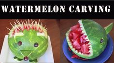 How to carve a hedgehog and shark watermelon--A fun way to serve watermelon.