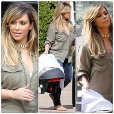 Kim Kardashian post-baby blonde hair 2013. I like how the roots are darker so the grow out line isn't so dramatic.