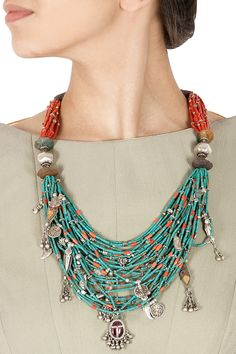 Layered turquoise and coral bead necklace available only at Pernia's Pop-Up Shop.