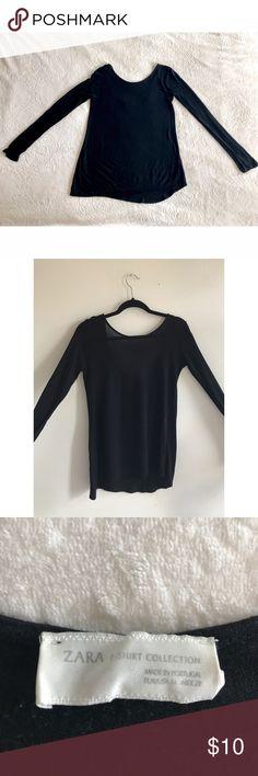 Black Zara long sleeve top Sheer black long sleeve Zara top. Slightly longer in the back and hangs slightly off shoulders. Great winter piece. Make an offer 💋 Zara Tops Tees - Long Sleeve