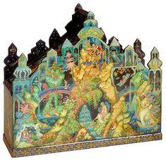 Galina Zhiryakova, Palekh lacquer box, Palace of the dreams, 2004, 1