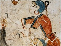 A young girl in a wall painting,Thera