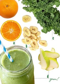 green smoothie with orange juice, kale, bananas, a squirt of honey, pears, and almond milk. I'd switch out the pears and milk for blueberries and non-fat yogurt. MUST TRY!