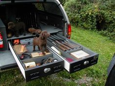 Hunting preparedness kit built into a truck. Includes two chocolate labs!! Cool.