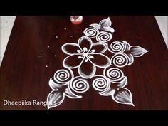 Design Discover Cute n easy 7 dots flower kolam Rangoli Designs Peacock, Rangoli Designs Simple Diwali, Rangoli Designs Latest, Free Hand Rangoli Design, Rangoli Patterns, Small Rangoli Design, Rangoli Border Designs, Rangoli Designs With Dots, Rangoli With Dots