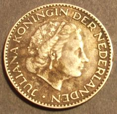 PLATA 1954 1 Gulden Netherlands Moneda 6,5 gramos 72% Plata fina (.720)