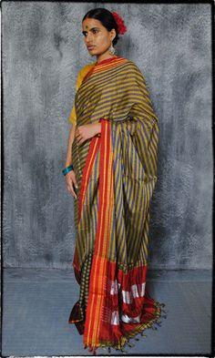q01 Ilkal Hand Woven Silk Cotton Sari