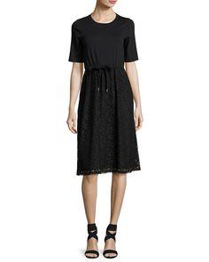 See by Chloe Drawstring Lace-Skirt T-Shirt Dress, Black Dress Outfits, Fashion Outfits, Work Outfits, Summer Outfits, Chloe Clothing, See By Chloe, I Love Fashion, Women's Fashion, A Line Skirts