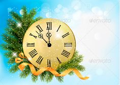 Holiday Background with Tree Branches and Clock