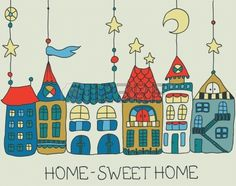 Sweet Home background -color illustration for beautiful card Stock Vector
