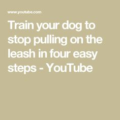 Train your dog to stop pulling on the leash in four easy steps Steps Youtube, Dog Training Tips, Easy, Dogs, Doggies, Pet Dogs