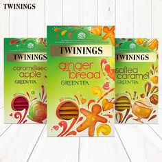 Meet the latest additions to our Green Tea Range: Gingerbread Green Tea, Salted Caramel Green Tea and Caramelised Apple Green Tea.  Our delicious new sweet Green Teas are now available in Waitrose and Tesco stores across the UK.