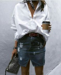 "824 Likes, 5 Comments - Enissablog (@myfashionstarpage) on Instagram: ""White shirt and jeans skirt#relaxstyle #freestyle #butfirstcoffee#sundaylook """