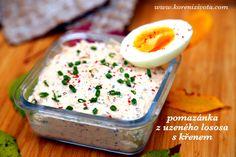 pomazánka z uzeného lososa s křenem je výborná s 8-minutovým vejcem se špetkou růžového pepře Pudding, Cooking, Desserts, Kitchen, Tailgate Desserts, Deserts, Custard Pudding, Puddings, Postres