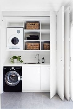 Small laundry room design ideas how to design a small laundry room to be like a pro? just looking a picture is not enough, visit my website to see more about Small laundry room design ideas. Laundry Room Layouts, Small Laundry Rooms, Laundry In Bathroom, Small Bathroom, Small Utility Room, Compact Laundry, Bathroom Vanities, Laundry Cupboard, Laundry Room Organization
