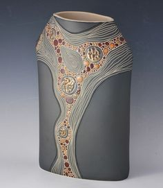 Vases - Sasha ceramics Lesson- vase w 3 different surface textures Slab Pottery, Hand Built Pottery, Pottery Vase, Ceramic Pottery, Clay Vase, Ceramic Pots, Sgraffito, Ceramic Design, Ceramic Artists