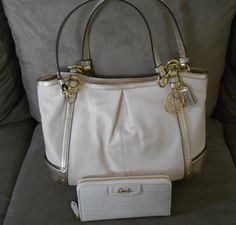5581ad31e007 NWT Coach Alexandrea Chain Leather Tote Large 20812+Leather Wallet 49102. Coach  Bags SaleDiscount ...