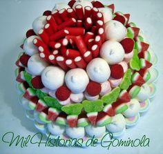 Tarta chuches, verde y rojo, comuniones, cumpleaños