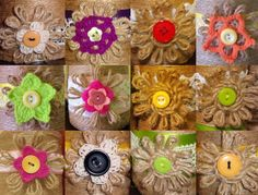 Twine flowers with buttons.